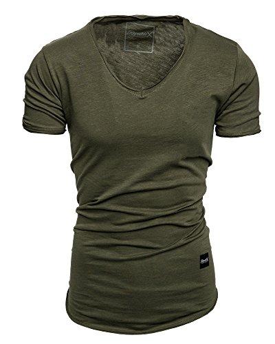 REPUBLIX Oversize Herren Vintage T-Shirt Verwaschen Sommer V-Neck Basic V-Ausschnitt Shirt R8 Khaki L