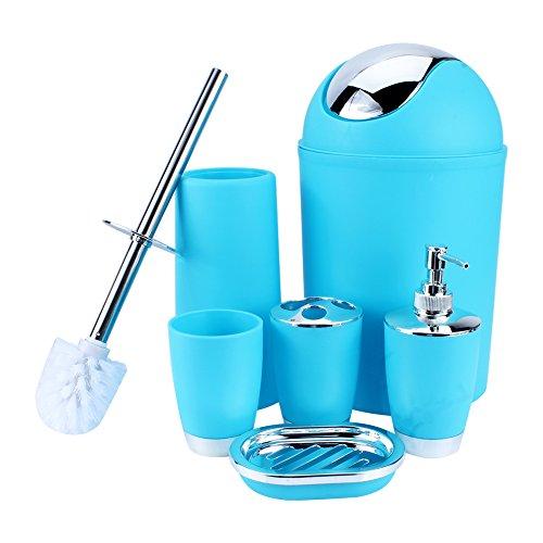 Yosoo 6 piezas de plástico Botellas de baño Accesorios de baño Set de baño Loción conjunto de accesorios de lujo, cepillo de dientes titular, Taza de dientes, jabonera, Cepillo de dientes, bote de basura ... (azul)