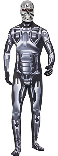 Herren T2 Endoskelett Terminator 2 JUDGEMENT DAY Film Halloween Roboter Fancy Kleid Kostüm (Halloween Roboter Kostüme)