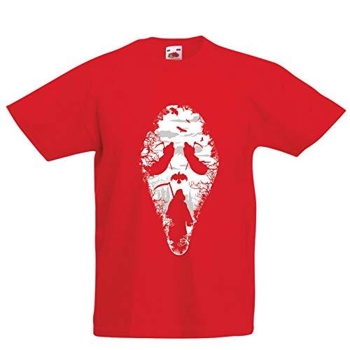 lepni.me Kinder Jungen/Mädchen T-Shirt Tribal Sensenmann Schrei - Tod gruselig beängstigend (12-13 Years Rot Mehrfarben)