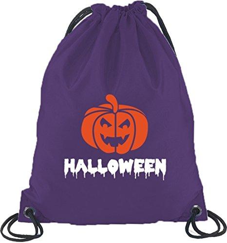 Halloween Grusel Kostüm Turnbeutel Rucksack Sport Beutel mit Halloween - Kürbis Motiv Lila