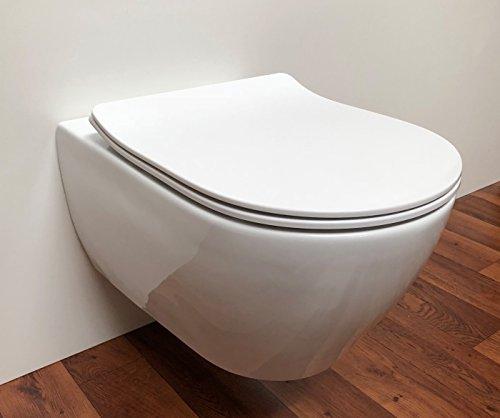 ADOB WC Sitz Klobrille Empoli weiss, passend auf Subway 2 von Villeroy & Boch, Absenkautomatik und zur Reinigung abnehmbar von der Keramik, 57082