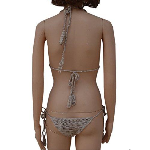 Italily -Bikini Donna,Costume da bagno sexy con spacco a costine intrecciato a mano,Bikini Set Swimwear Sexy Bikini Set Push Up Costume da bagno Push Up Bikini Khaki