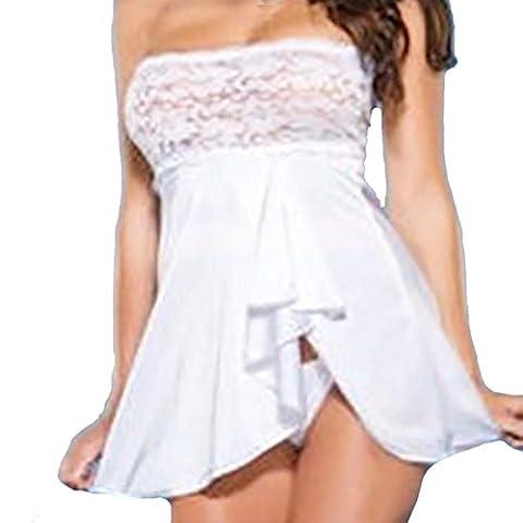 YunYoud Frau Unterwäsche Puppe Wrap Chest Unterwäsche Spitze Kleid + G-String (XXL, Weiß)