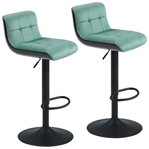 Duhome Juego de 2 taburetes de Bar Turquesa Verde Patina Menta Terciopelo Ajuste de Altura diseño único seleccion de Color 205