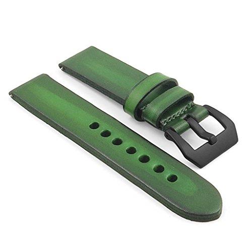 strapsco-26-mm-uhrenarmband-vintage-grun-4-mm-dick-leder-w-pvd-matt-schwarz-pre-v-dornschliesse