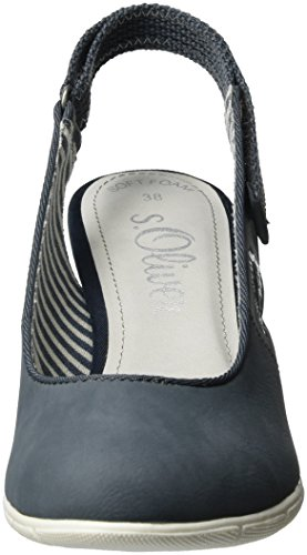 s.Oliver 29501, Scarpe Col Tacco con Cinturino a T Donna Blu (DENIM 802)