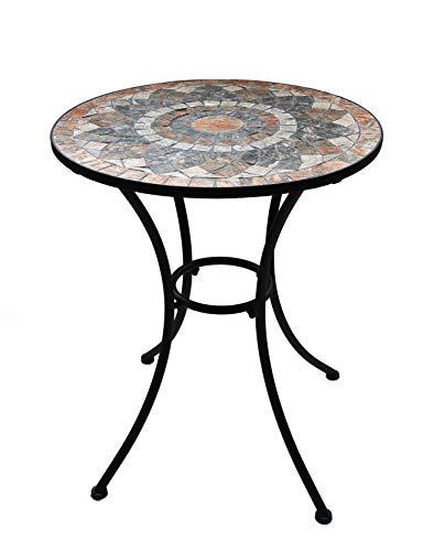 K&L Wall Art Gartentisch mit schönem Stein-Mosaik Muster, 60 cm Durchmesser robust, Innen- und Außen, Winterfest