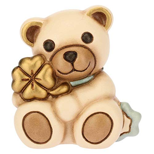 Thun teddy con quadrifoglio azzurro-ceramica-h 5,4 cm