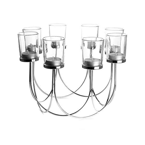 Porta té de cristal | Candelero | Decoraciones de mesa de comedor | Centro de mesa de decoración de la boda | Accesorios para el hogar vintage | M&W (Chrome)