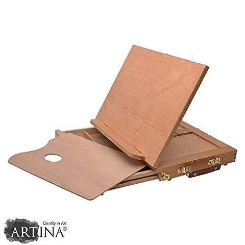 Artina - Boite mallette Chevalet de table - En bois de hêtre- Tres pratique avec tiroir compartiments + Palette - Inclinaison réglable