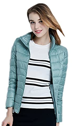 Santimon Womens Short Down Jacket Packable Stand Collar Puffer Jack Coat Outwear Pinkblue X-Large