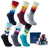 Vkele 6 Paar Fein Karierte Gemusterte Socken, Bunt Socken, Ideal als Geschenk für Valentinstag, Baumwolle, Gradient, Gr. 43-46 43 44 45 46, Weihnachtsgeschenk