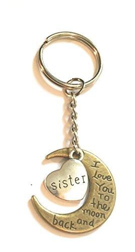 Sister I Love You to the moon and back Bronze et ton argent porte-clés ou sac étiquette