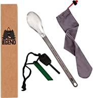 Be Legend Titanium Camping Spoon Extra Long Handle (9.81 inches) with Conversion Table Bonus FIRE Striker - Ul