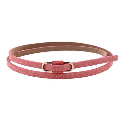 Damara Damen Super Schmal Poppig Jeans Kleid Belt Gürtel,Pfirsich Pink