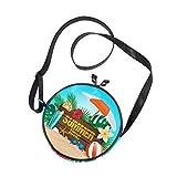 Emoya Borsa rotonda estiva tropicale piante fiore parasole tela cerchio borsa a tracolla borsa per donna/ragazza