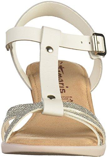 Tamaris Damen 28218 T-Spangen Sandalen Weiß(Weiß/Silber)