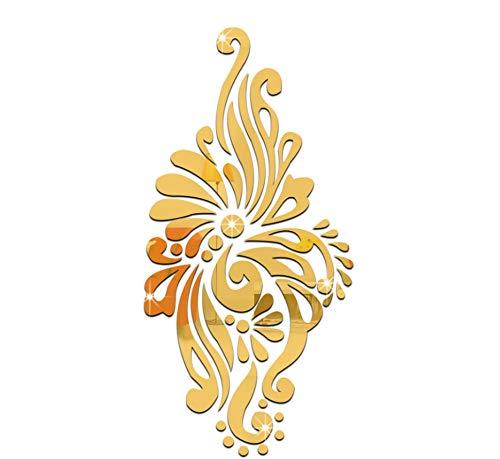 KaiXINSun Spiegel Wandaufkleber Ethnischen Stil Kristallspiegel Wandtattoo Wohnzimmer Veranda Neue Schlafzimmer Schlafzimmer DIY Dekorative Wandbilder Entfernt Gold - Ethnischen Spiegel