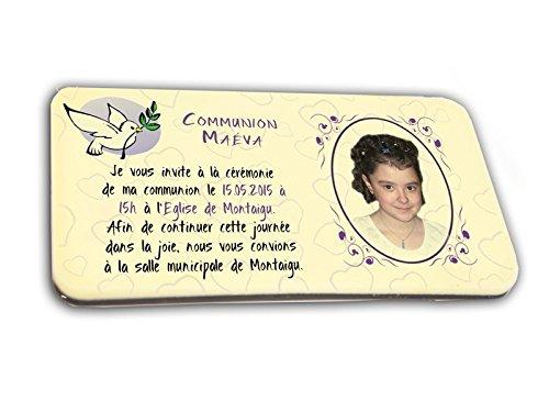 CARTE D'INVITATION en chocolat thème COLOMBE personnalisée avec votre photo et votre texte - pour baptême mariage communion - invitation en chocolat design et moderne blanc et mauve