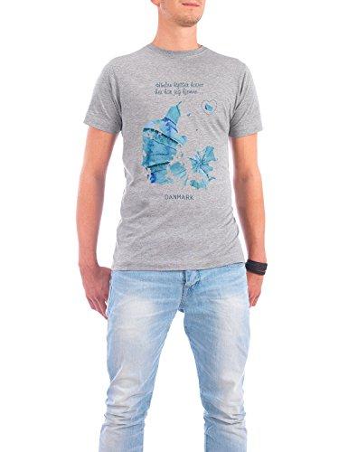 """Design T-Shirt Männer Continental Cotton """"Himlen kysser havet - Danmark"""" - stylisches Shirt Städte / København Kartografie Reise / Länder von Wrona Grafisk Grau"""
