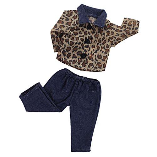 MagiDeal Leopard Langarmshirt & dunkelblau Hosen Kleidung Set für 18 Zoll Mädchen Puppe