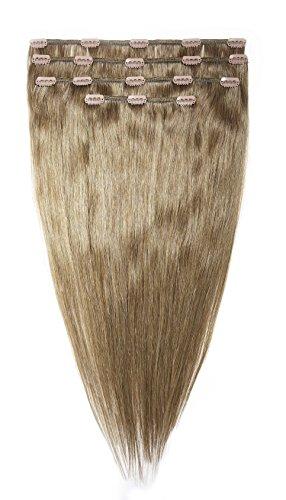 American Dream Lot Tête Complète de Luxueuses Extensions Clip In 100 % Cheveux Humains Couleur 10 Blond Cendre Moyen