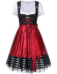 Rouge et Vert Trois Pièces 42/XXL KOJOOIN Vetement Dirndl pour Femme Midi Robe Traditionnelle pour lOktoberfest