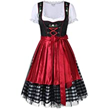 KOJOOIN Trachten Ladies Dirndl Short - Midi Vestido Tradicional para Oktoberfest - Three Pieces: Vestido