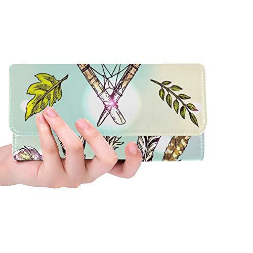 Único Personalizado Hermoso Dibujado a Mano Estilo Boho Mujeres Monedero Billetera Monedero Largo Titular de la Tarjeta de crédito Bolso de la Caja