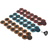 BXU-BG - Rueda de pulido (45 unidades, 2 pulgadas, 180/320/400, grano 180/320/400, disco de lijado con aleta de disco de pulido rojo amarillo azul adecuado para amoladoras de ángulo de 50 mm