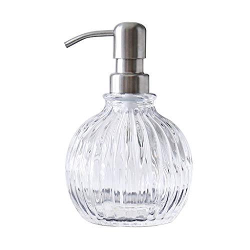 XZXCXSY Klarglas-Seifenspender, nachfüllbares Händedesinfektionsmittel, Spülmittel, Shampooflasche, Pumpenhalter aus gebürstetem Nickel - häufig verwendet in Bad/Arbeitsplatte/Küche/Waschküche