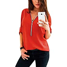 9fa34297545116 YOINS Sexy Oberteil Damen Sommer Elegante Langarmshirts Damen Bluse Tunika  Frühling T-Shirt V-