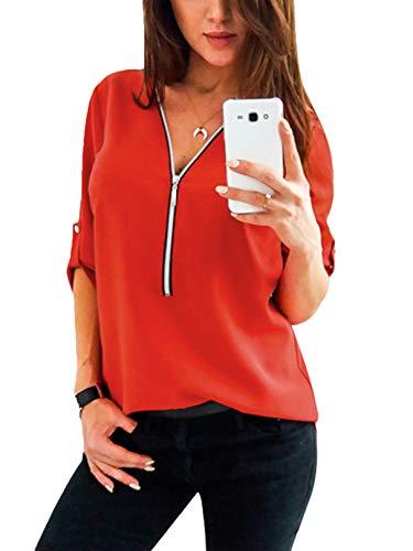 YOINS Sexy Oberteil Damen Herbst Elegante Langarmshirts Damen Bluse Tunika T-Shirt V-Ausschnitt Tops Rot XS/EU32-34