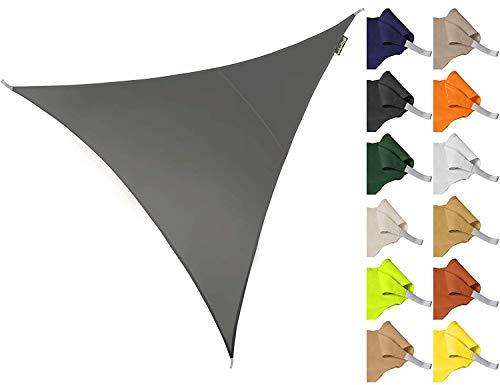 ZHhome Sonnenschirm 3 * 3 * 3m Dreieck Wasserdicht Gartenterrasse Sonnenschirm Segel Baldachin 96,5{47a31c5039a5d4e28ccba59aad15d53e05dbed969ec5b5a887fa30384969ced6} Anti-UV-Abschirmung Tuch (Weiß) (Farbe : Gray)