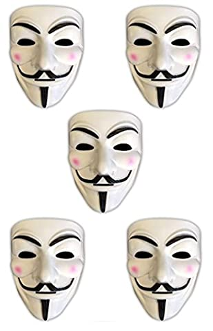 5x V wie Vendetta Maske | Anonymous | Party Halloween Karneval Maske (Anonymous Hacker Kostüm)