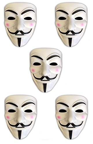 HAC24 5X V wie Vendetta Maske | Anonymous | Party Halloween Karneval Maske