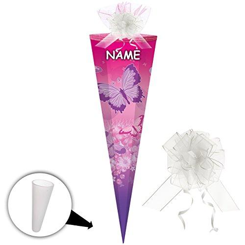alles-meine GmbH Schultüte -  Schmetterlinge & Blumen - Rosa - Pink  - 70 cm - Rund - Incl. N..