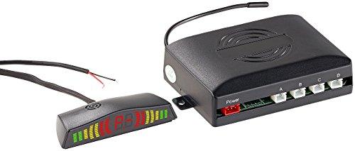 Lescars Einparkhilfe: Funk-Rückfahrhilfe PA-280 für Pkw, mit 4 Sensoren & Armaturen-Display (Abstandswarner)