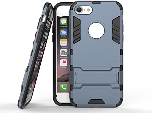 DBIT iPhone 8 /iPhone 7 Custodia,Dual Layer Ibrida Rugged Custodia Morbido Protettiva Bumper TPU/PC Cover Case per iPhone 8 /iPhone 7,Grigio Nero