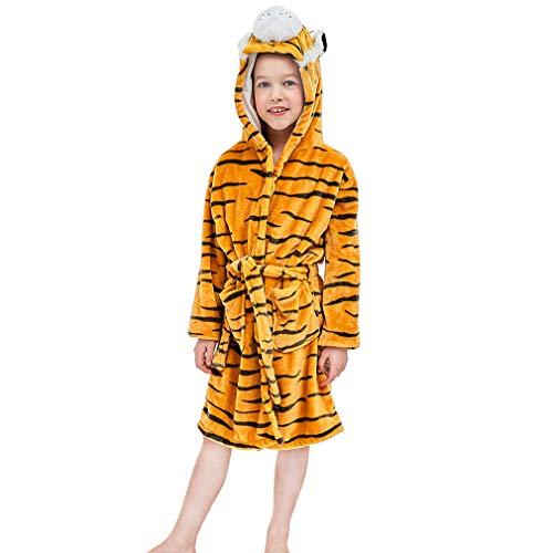 MICHLEY Animal Albornoz con Capucha Toalla de Baño de Algodón de Dibujos Animado para 3-8 Años Niños, Tigre Amarillo 6-8 años