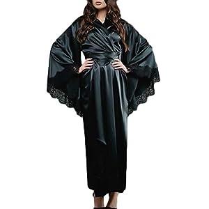 LOPILY Damen Morgenmantel Schlafanzug mit Gürtel Robe Bademantel Dessous Blumenspitze Saum Satin Kimono Lange Nachtwäsche Pyjamas Sleepwear(Schwarz,XL)