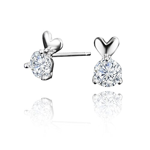 e Herz Charm Anhänger Ohrringe 925Sterling Silber weiß Zirkonia Fashion für Frauen Mädchen (Einfach Weibliche Kostüm)