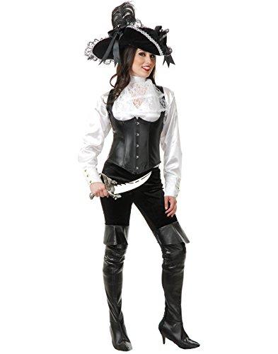 Women's XS Teen 3-5 White Satin Pirate Shirt Blouse (Shirt Pirate White)