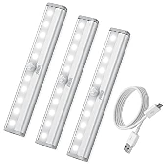 AMIR Lampada da Parete con Sensore Di Movimento, Luce Notturna Ricaricabile USB da 10 LED con Striscia Magnetica per Scala, Armadio (Bianca, 3 Pezzi)