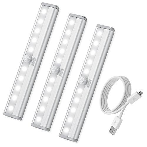 AMIR Luci Armadio con Sensore Di Movimento, Lampada Armadio, Luce per Armadio, Luce Ricaricabile USB da 10 LED con Striscia Magnetica per Scala, Armadio (Bianca, 3 Pezzi)