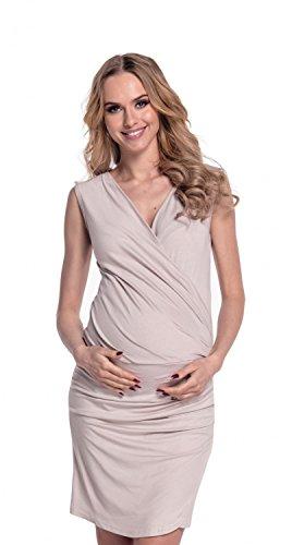 Happy Mama Femme. Robe de maternité grossesse plissé. Sans manches 045p écru