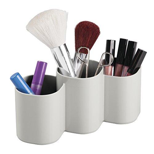 InterDesign Clarity Make-up Organizer, runder Aufbewahrungsbehälter aus Kunststoff, hellgrau