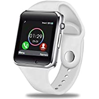 GBVFCDRT Smart Watch Hombres Mujeres Soporte Sim TF Tarjeta Bluetooth Call Podómetro Impermeable Sport Smartwatch Android iOS   , Blanco