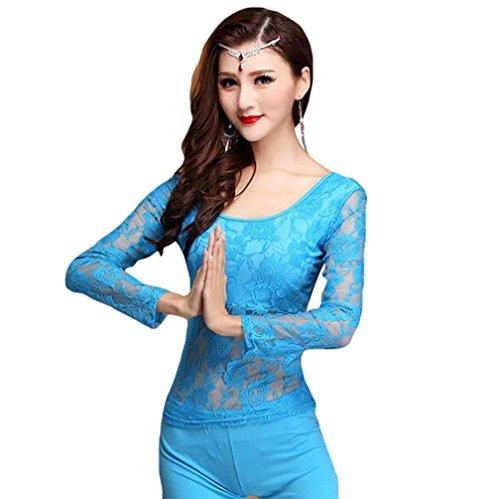 YiJee Damen Bauchtanz Kostüm Tops Belly Dance Spitze Bluse Hell Blau L (Blaue Bauchtanz Kostüm)